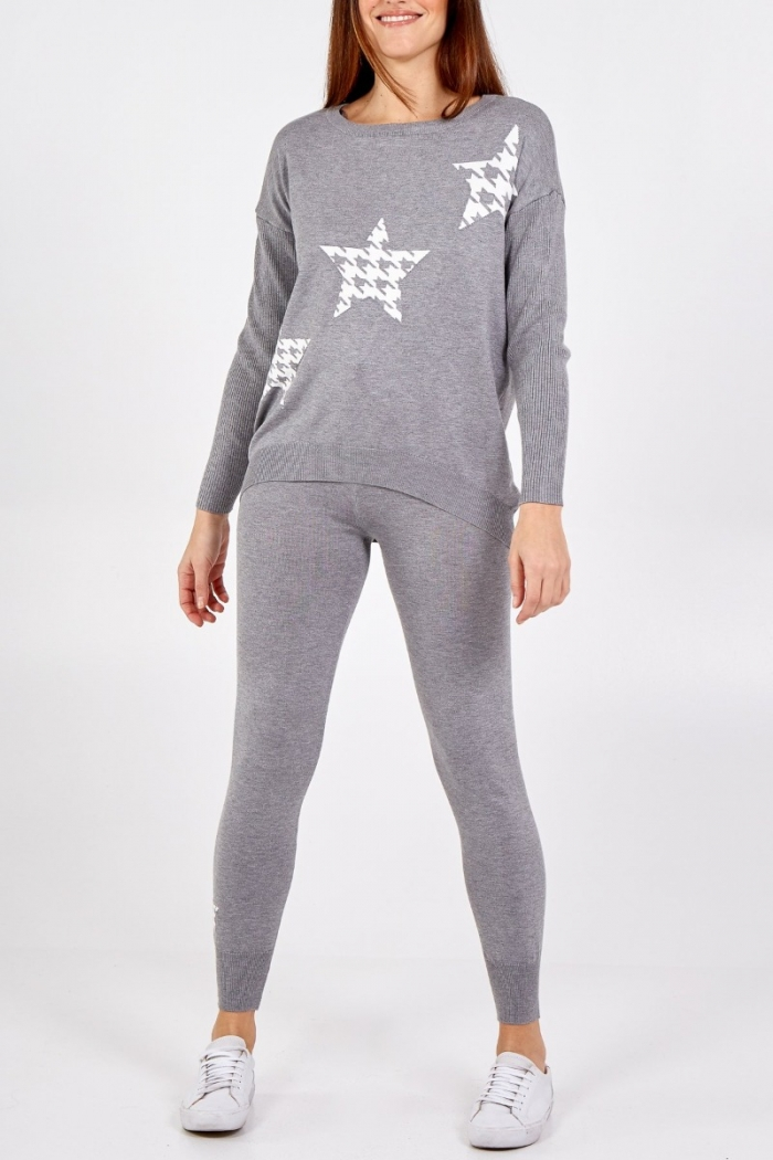 Dog Tooth Star Knitted Lounge Suit
