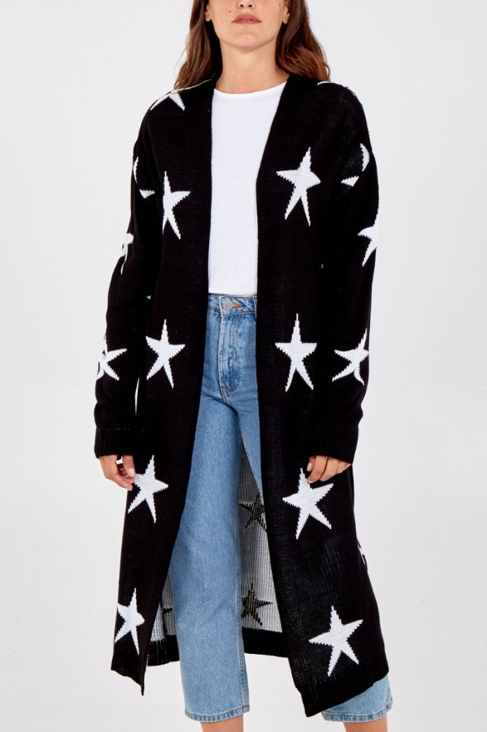 Long Knitted Star Cardigan