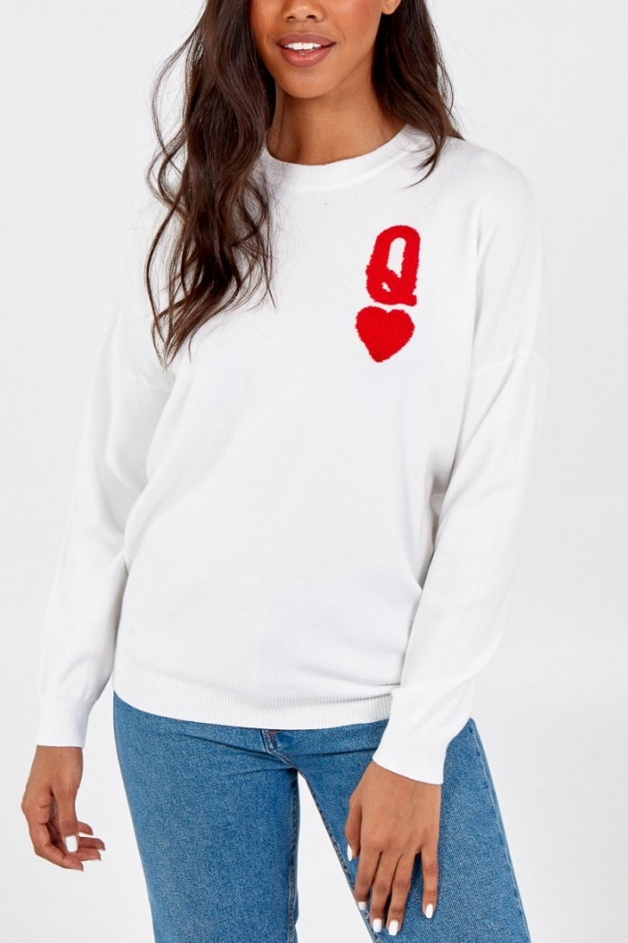 Queen Of Hearts Soft Knit Jumper