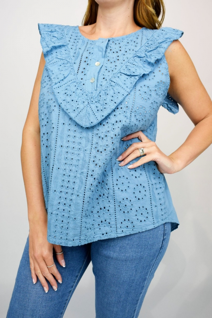 Embroidery Anglaise Frill Front Top