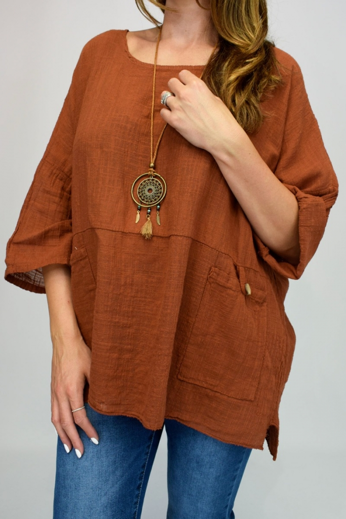 Two Pocket Linen Necklace Top