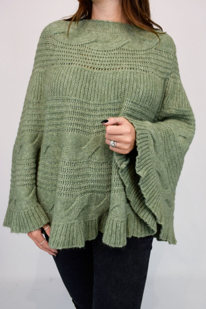 Cable Knitted Poncho