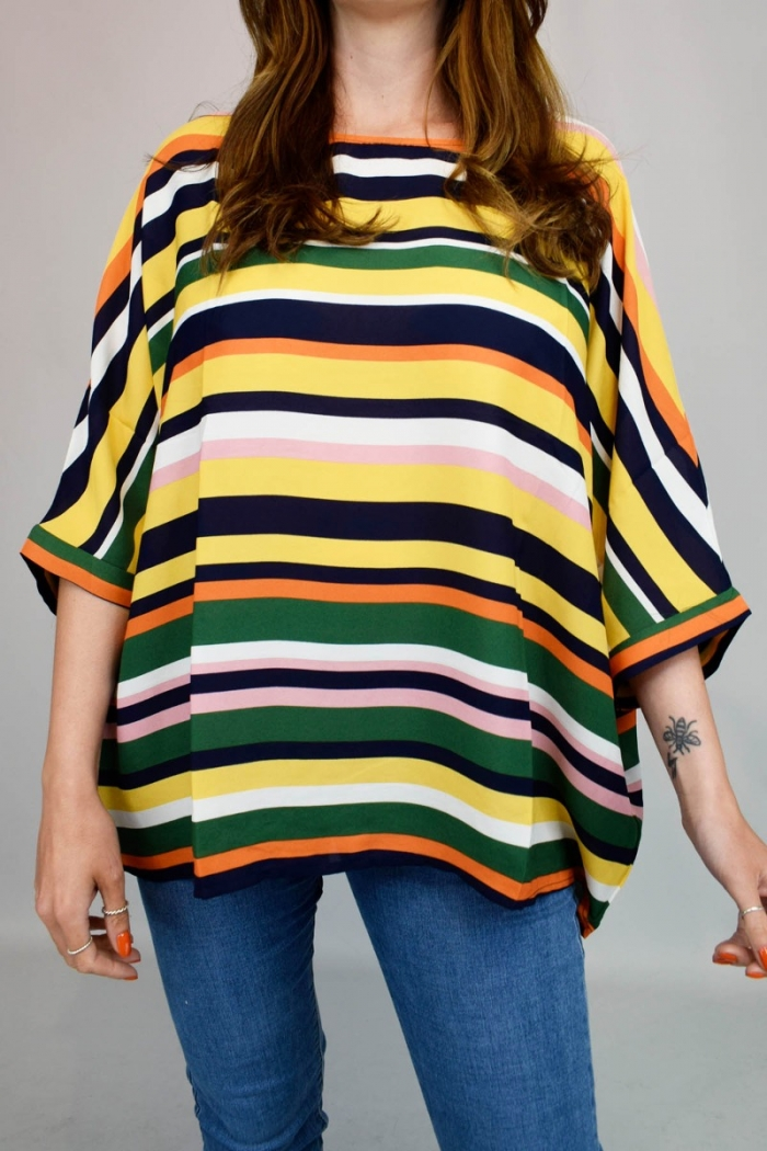 Coloured Stripe Batwing Top
