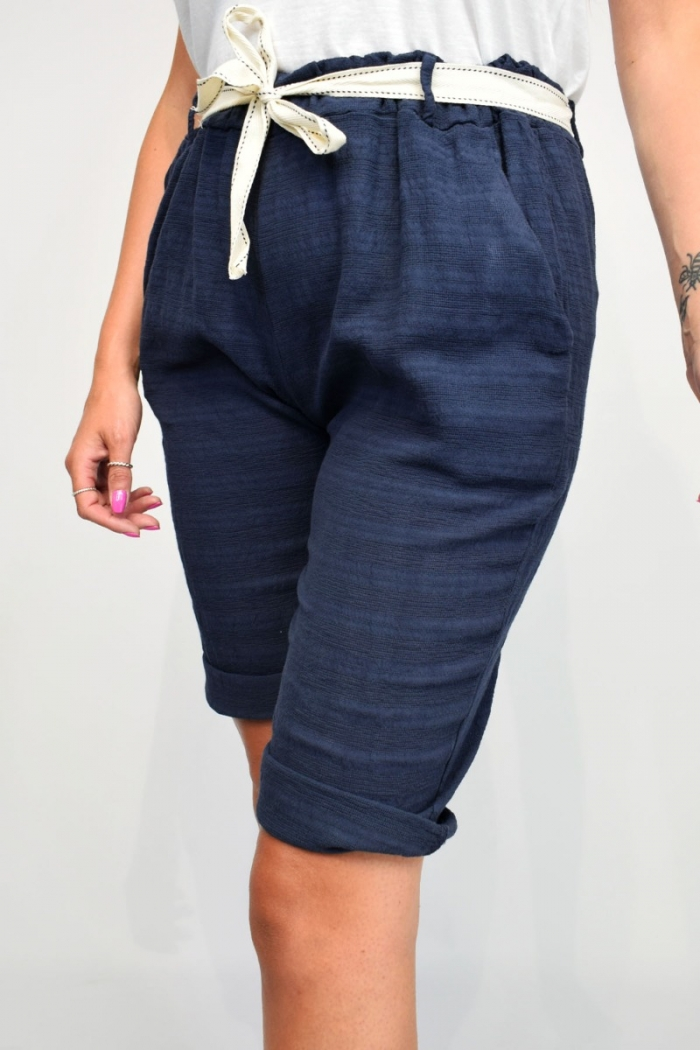 Shadow Stripe Belted Cotton Shorts