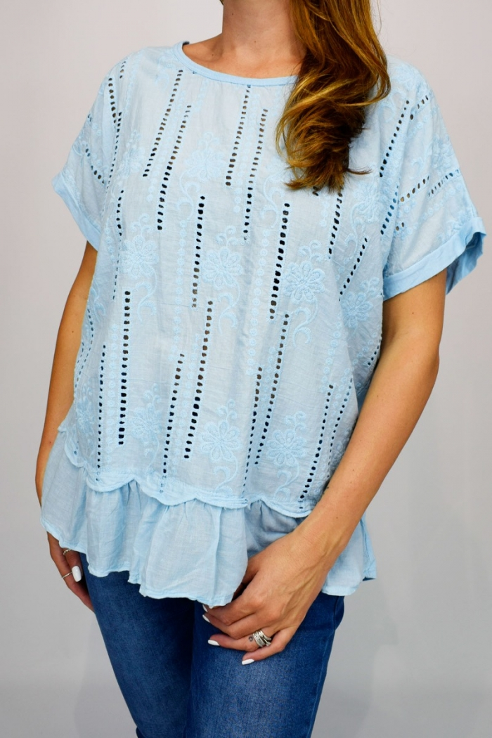 Embroidered Front Frill Hem Top
