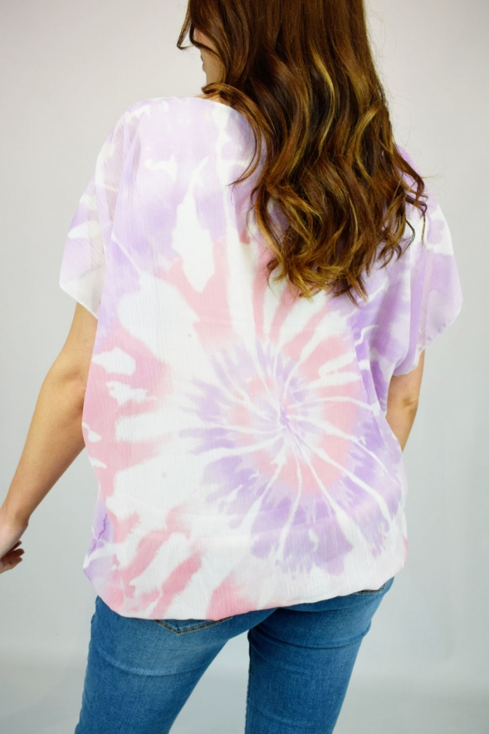 Tie Dye Swirl Feather Necklace Top