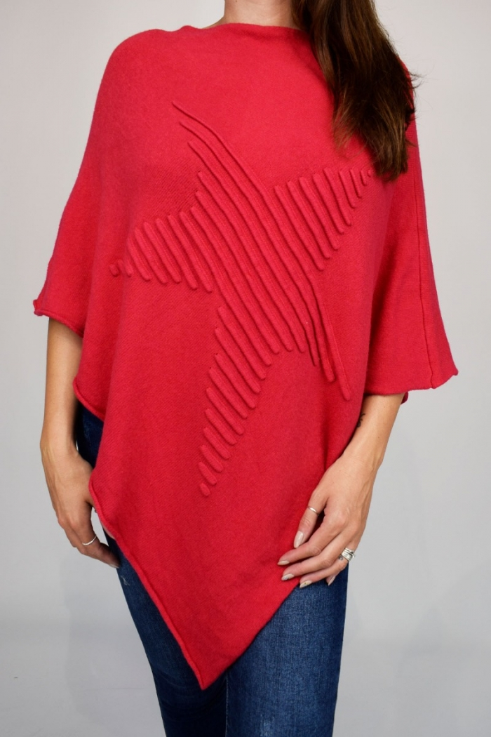 Soft Knitted Star Front Poncho